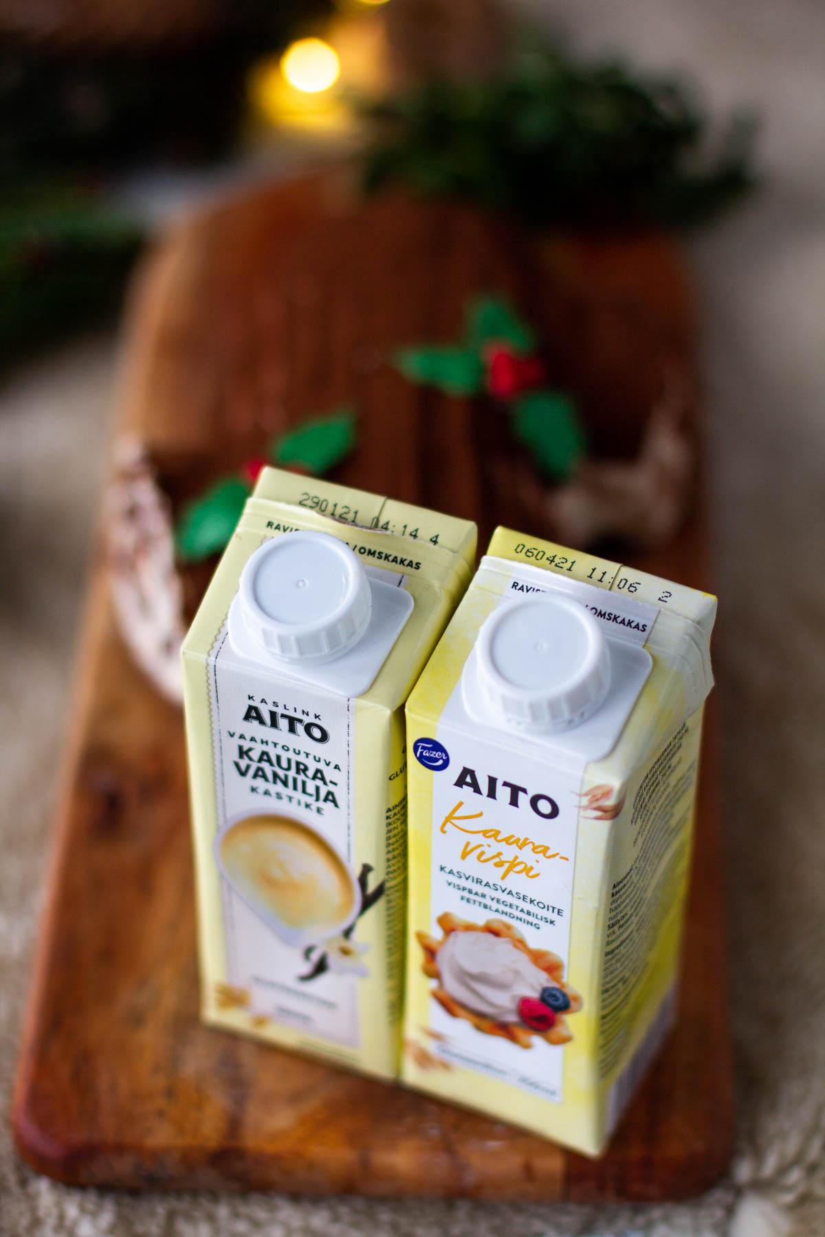 Fazer aito tuotteet kaura vaniljakastike sekä Aito kauravispi