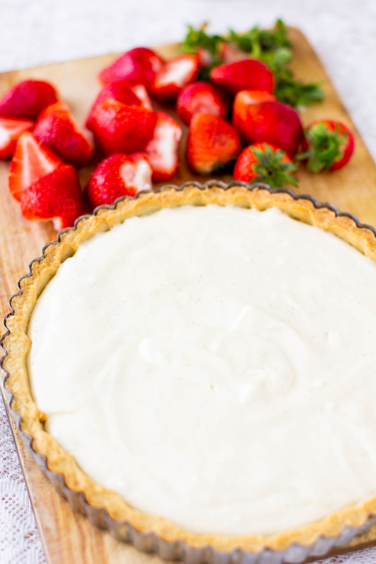 Creme patisserie with whipped cream and strawberries